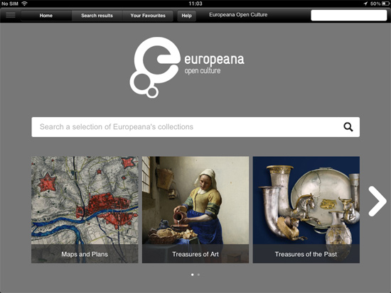 The home screen on the Europeana Open Culture app