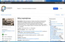 """Portalo """"Europeana"""" puslapis su matomu Panevėžio kraštotyros muziejaus eksponatu"""