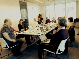 """Susitikimo dalyvių diskusija. Nuotr. A. Fresos (""""Promoter srl & Digital Meets Culture"""")"""