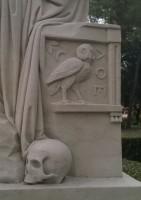 """Pelėda – išminties ir tarptautinio projekto """"AthenaPlus"""" simbolis – ant lordo Džordžo Bairono paminklo viename iš Romos parkų. D. Snarskio nuotr."""